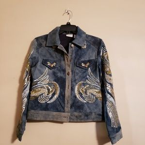 Chicos embellished denim jacket! Sz. 0